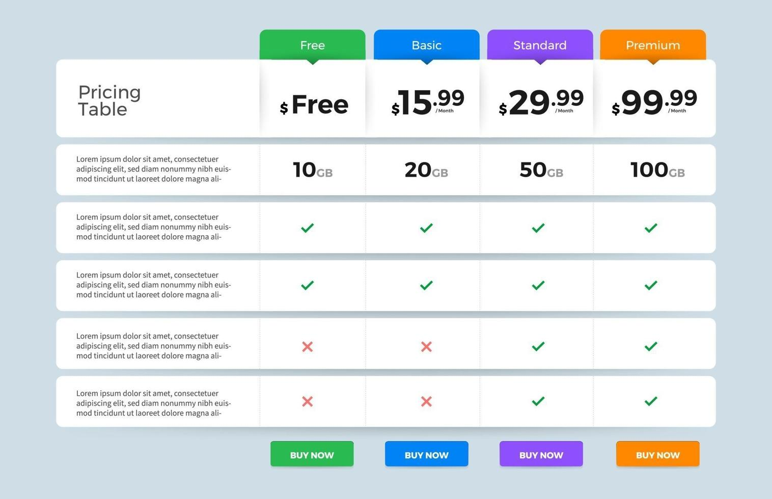 UI User Interface Price List vector