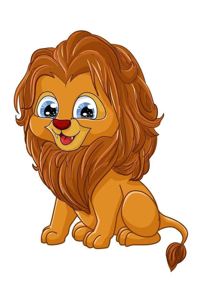 Un pequeño león marrón lindo, diseño de ilustración de vector de dibujos animados de animales