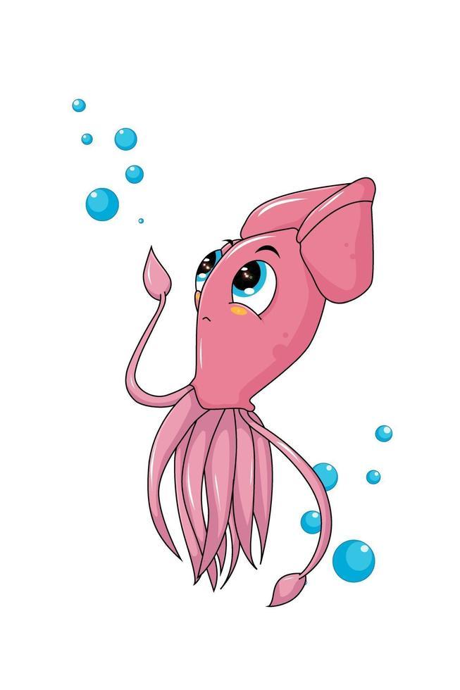 Un pequeño y lindo calamar rosado con burbujas de agua, diseño de ilustración de vector de dibujos animados de animales