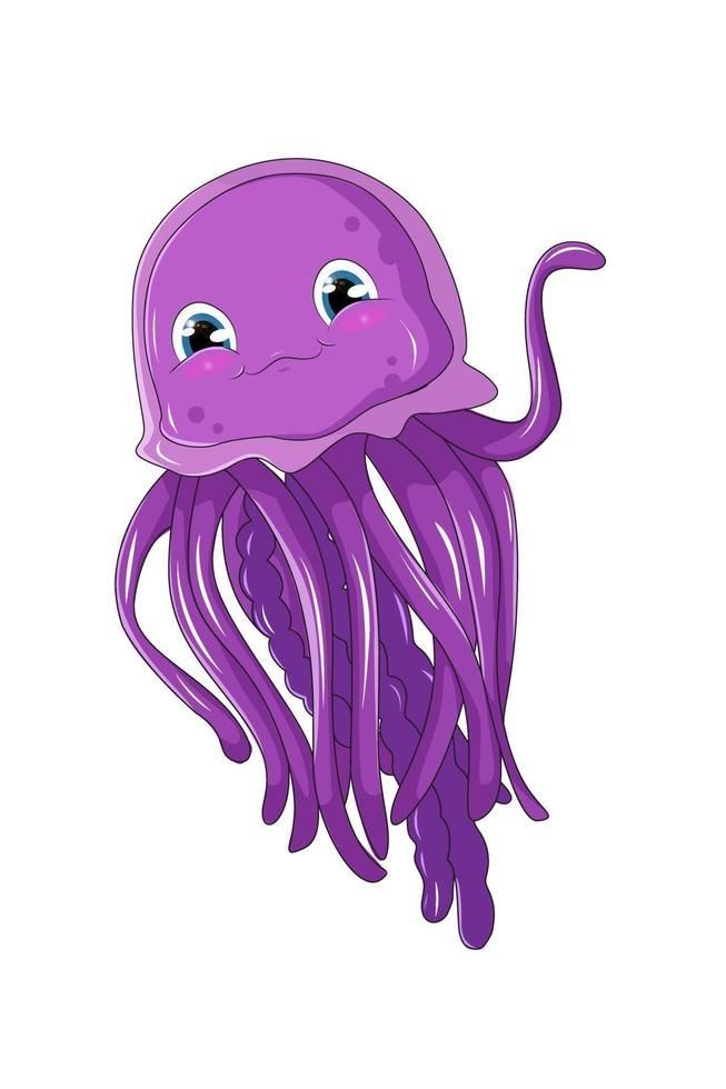 Una linda medusa bebé púrpura, diseño de ilustración de vector de dibujos animados de animales