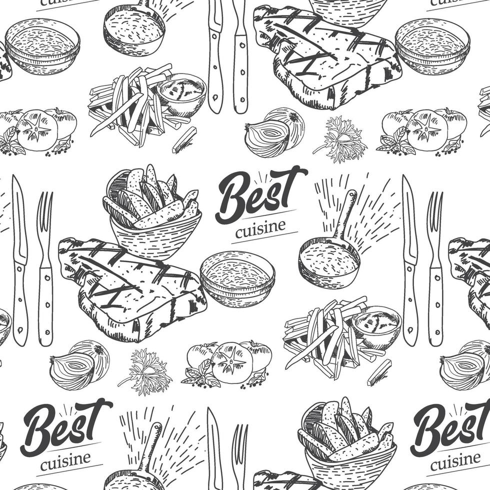 Hand drawn meat, steak, beef and pork, lamb seamless pattern vector