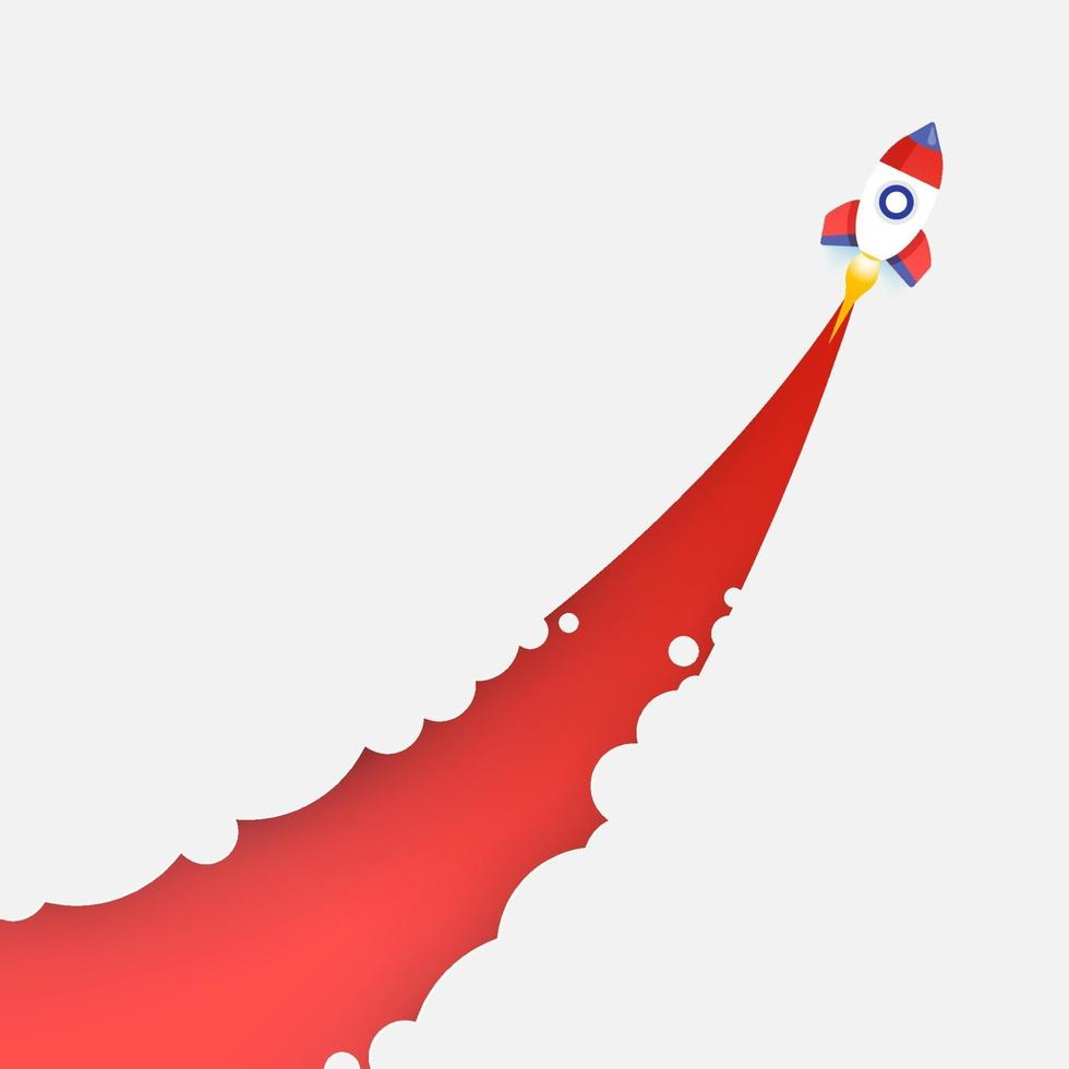Rocket flies up into the sky, cutting through clouds. Startup business concept vector