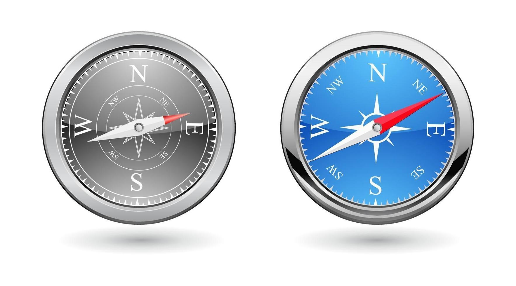 compass metal icon vector