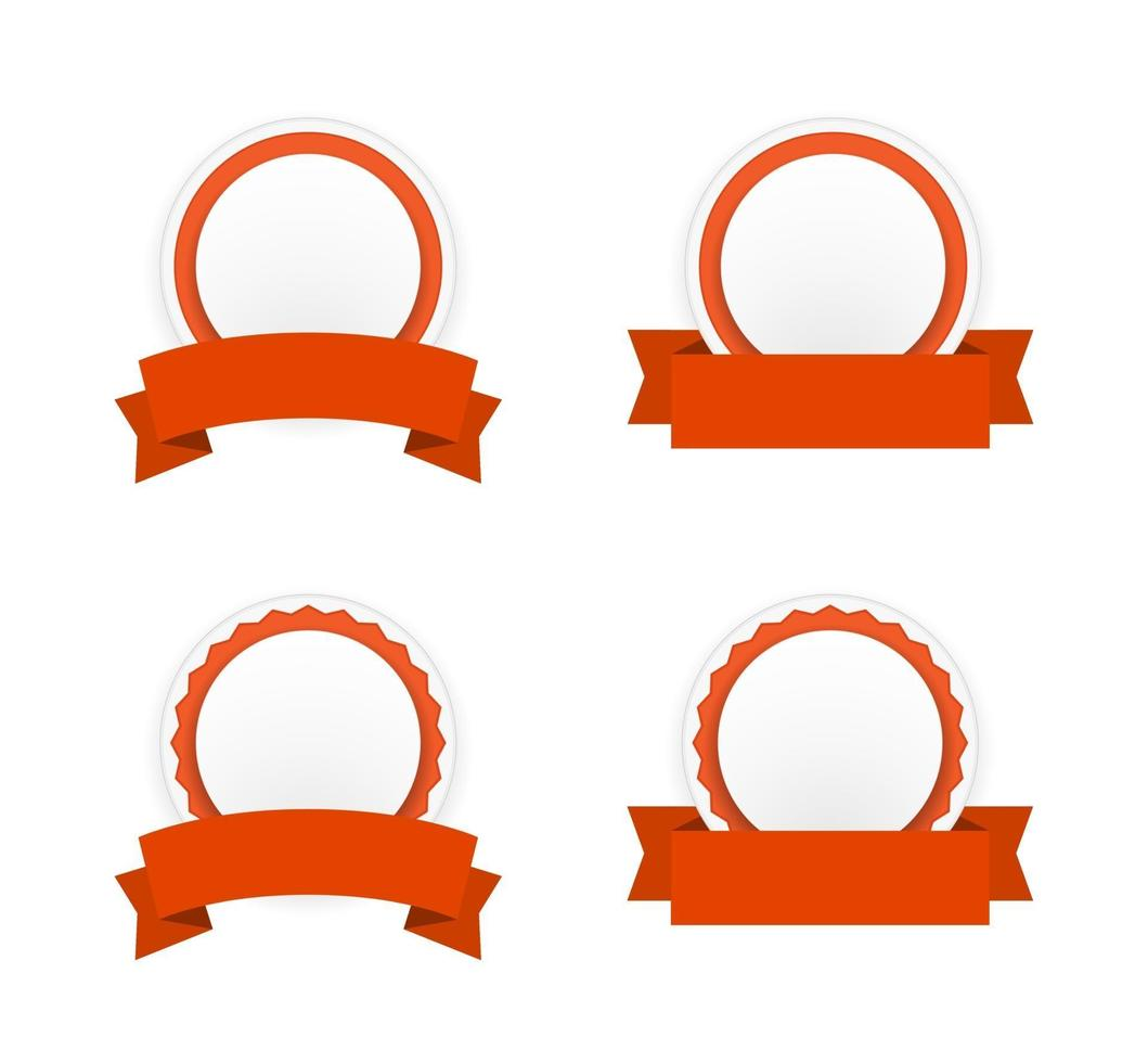 round paper banner badge with ribbon icon set vector