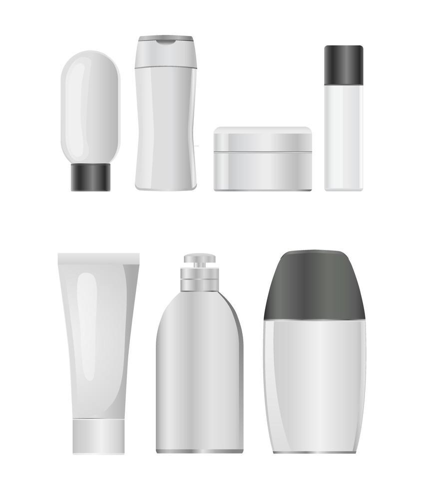 plastic bottles icon set vector