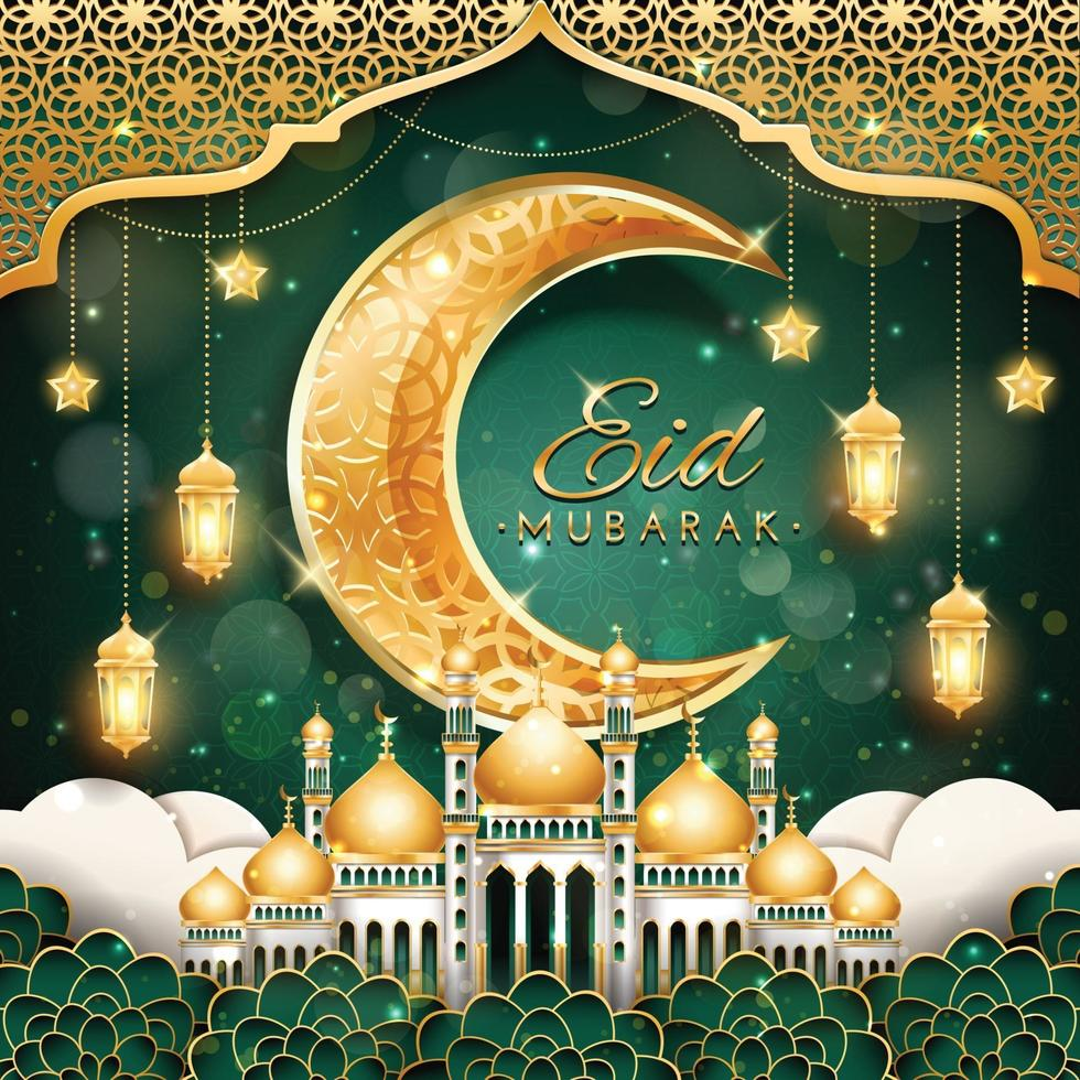 Eid Mubarak with Crescent Moon and Mosque vector
