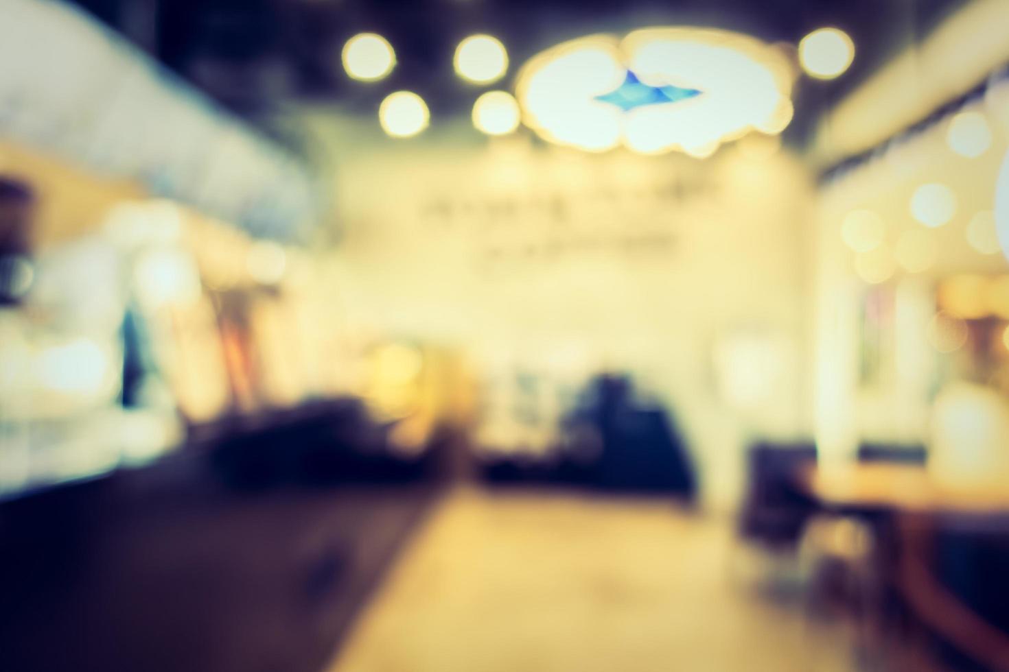 Interior de cafetería desenfocado abstracto para el fondo foto