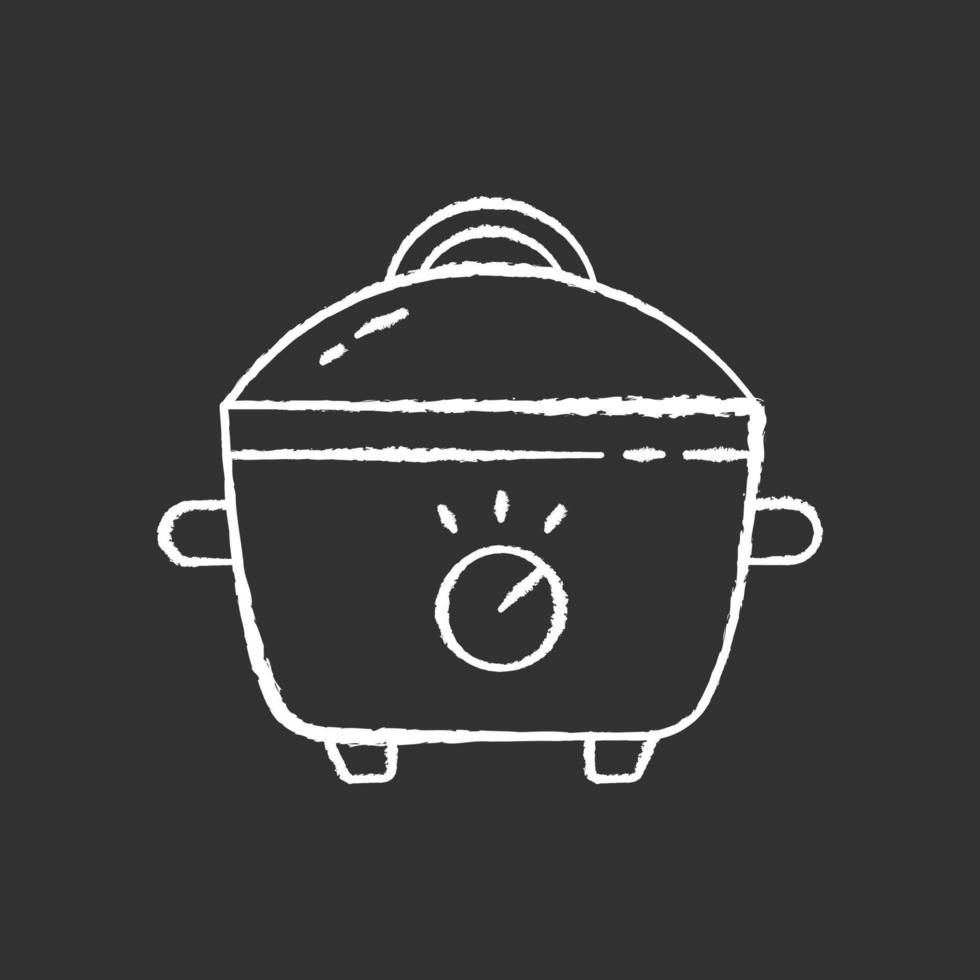 Slow cooker chalk white icon on black background vector