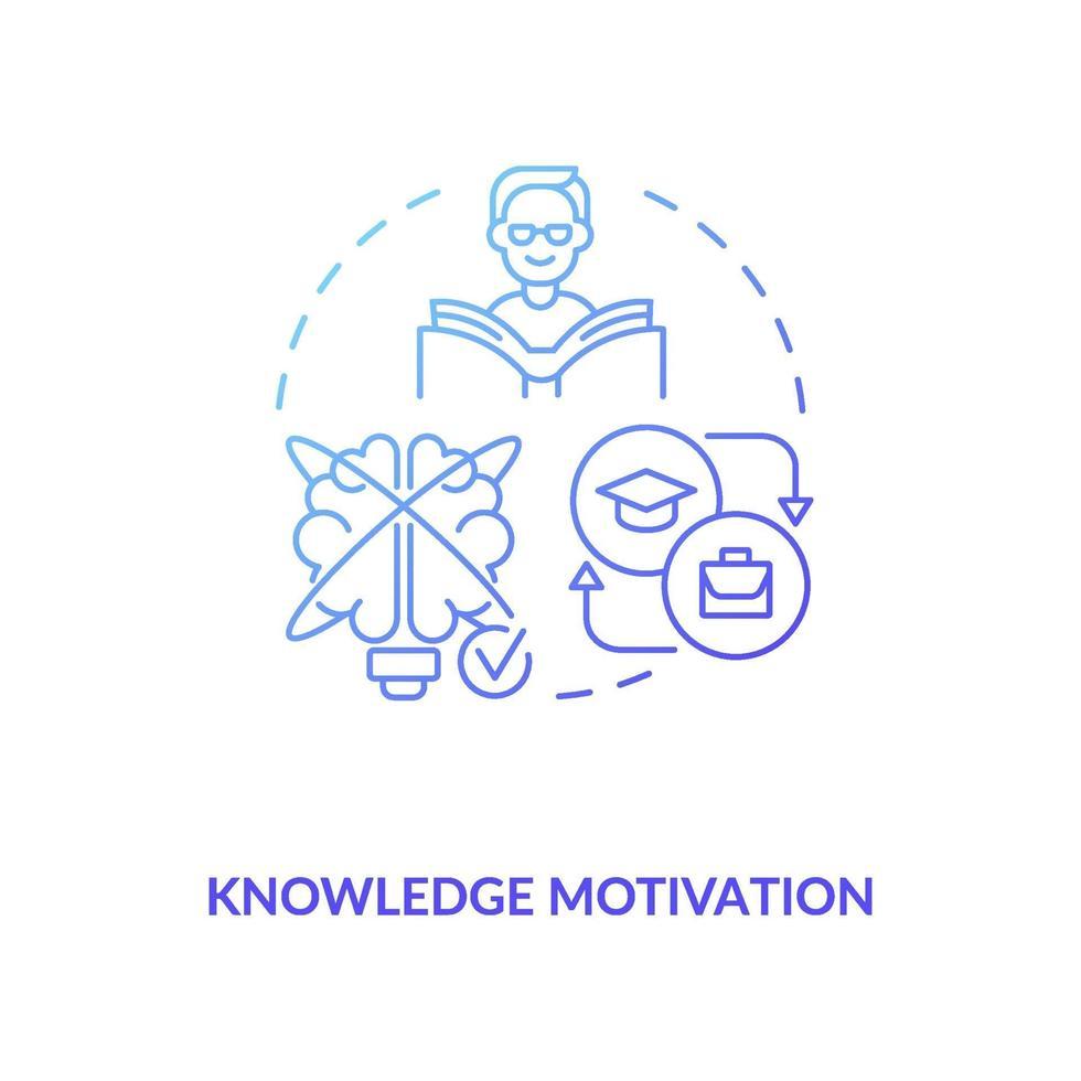 conocimiento, motivación, concepto, icono vector