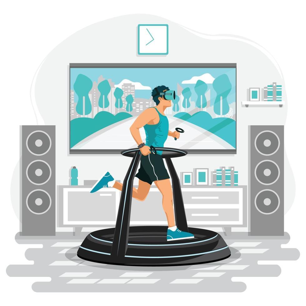 Man Wearing VR Running on Modern Simulator Treadmill vector
