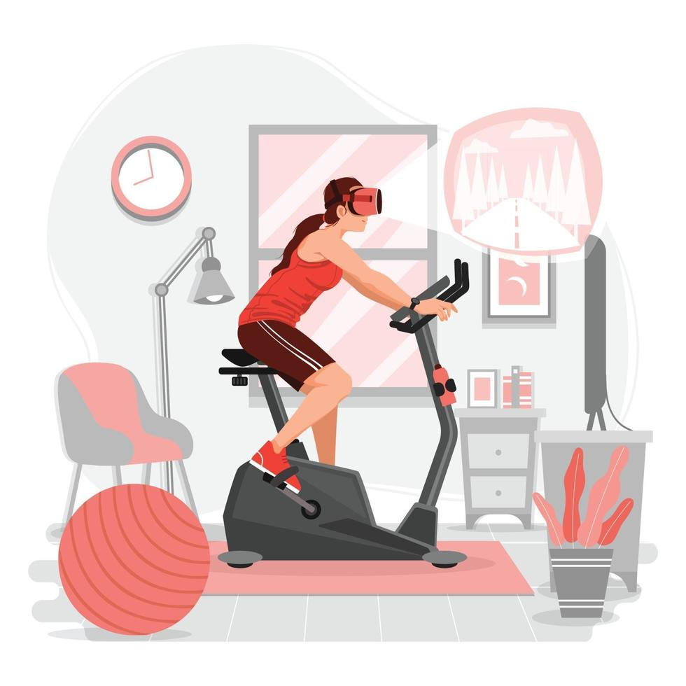 Woman Riding Stationary Bike with VR technology vector