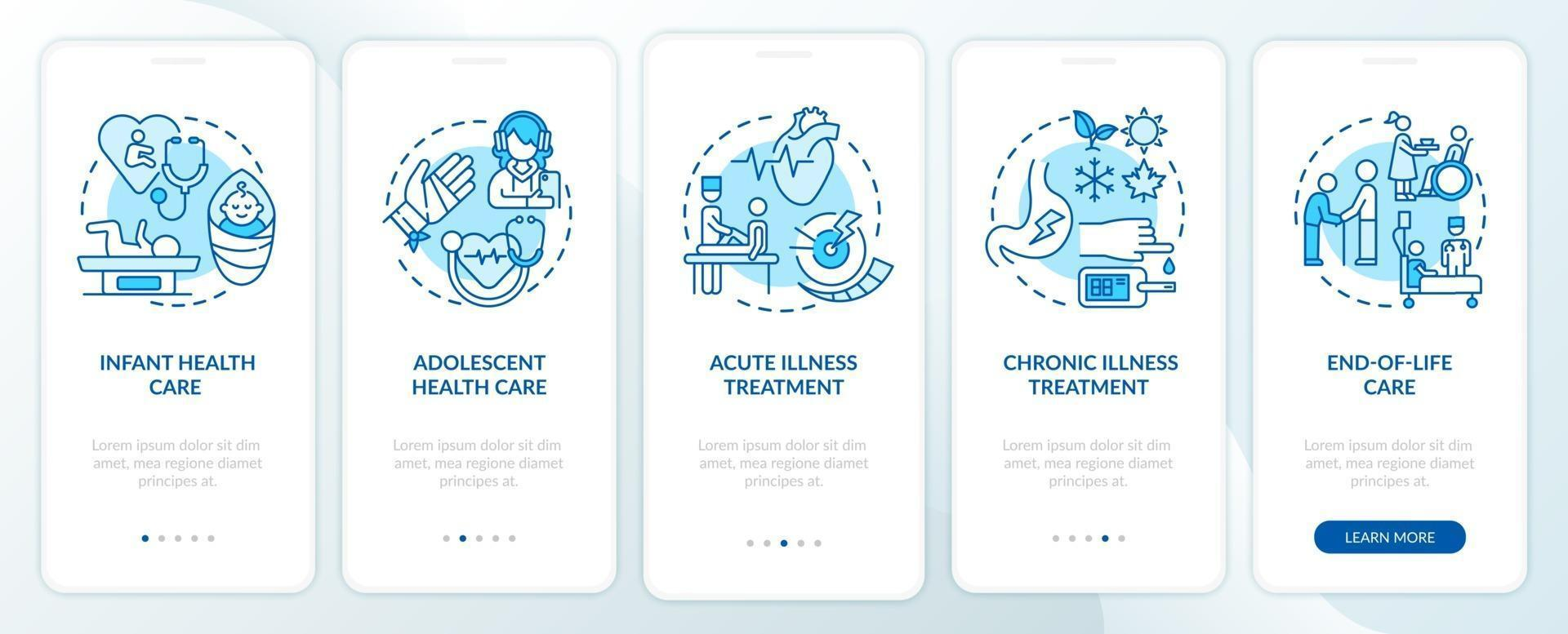 Family doctor support blue onboarding mobile app page screen with concepts vector
