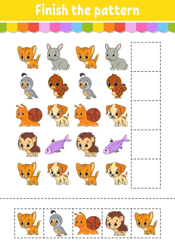 Finish the pattern. Cut and play. Education developing worksheet. Activity page. Cartoon character. vector