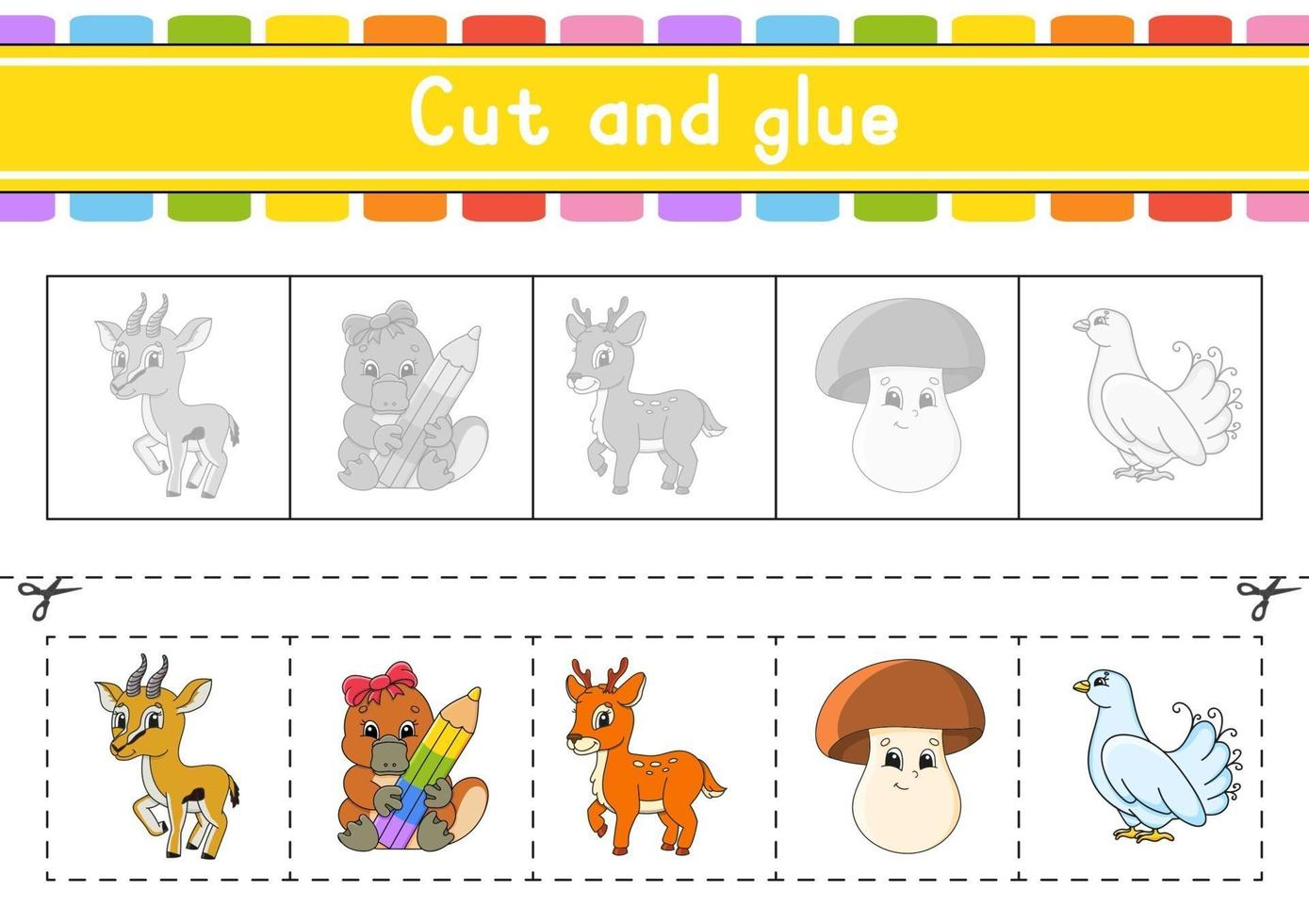 Cut and play. Paper game with glue. Flash cards. Education worksheet. Activity page. Scissors practice. Isolated vector illustration. Cartoon style.