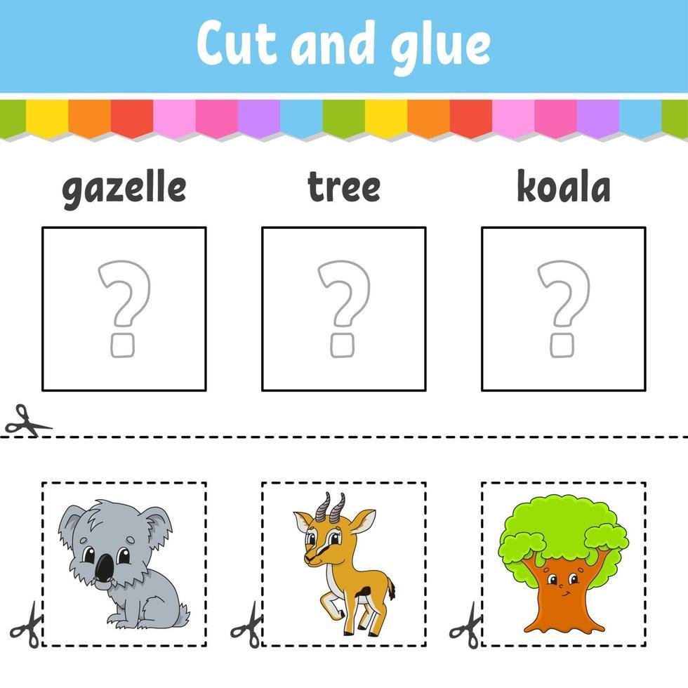 corta y pega. juego para niños. aprender palabras inglesas. hoja de trabajo de desarrollo educativo. página de actividad de color. personaje animado. vector
