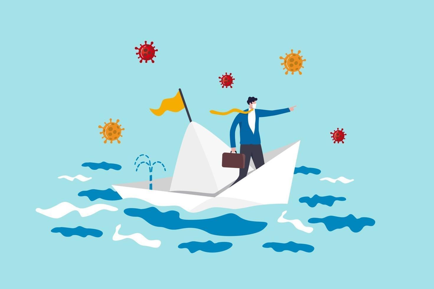 liderazgo para la gestión de crisis en la pandemia del coronavirus covid-19 que causa el concepto de recesión económica, el líder de la empresa de negocios logra sobrevivir en una situación de barco que se hunde con un virus patógeno. vector
