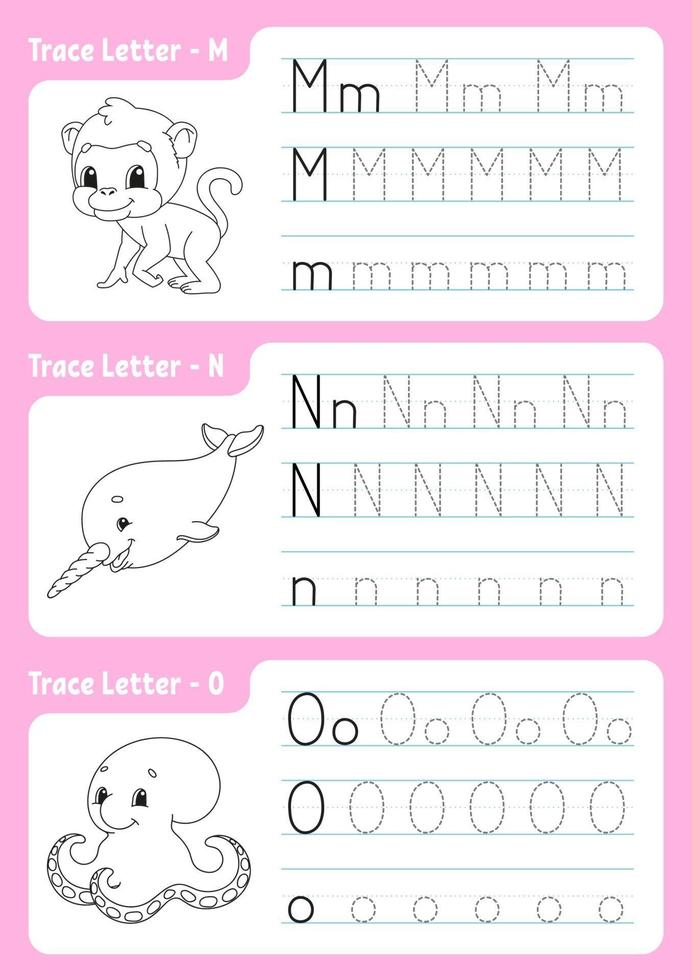 Writing letters m, n, o. Tracing page. Worksheet for kids. Practice sheet. Learn alphabet. Cute characters. Vector illustration. Cartoon style.
