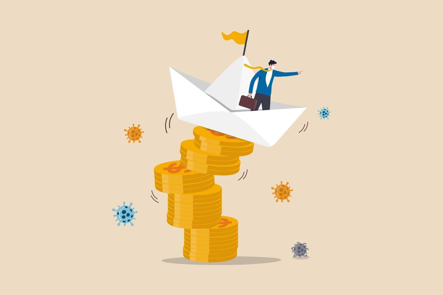 liderazgo para resolver problemas de negocios y finanzas en el concepto de crisis del coronavirus covid-19, el líder del empresario comanda un bote de origami inestable en una pila de monedas de dinero en dólares con el patógeno del coronavirus. vector