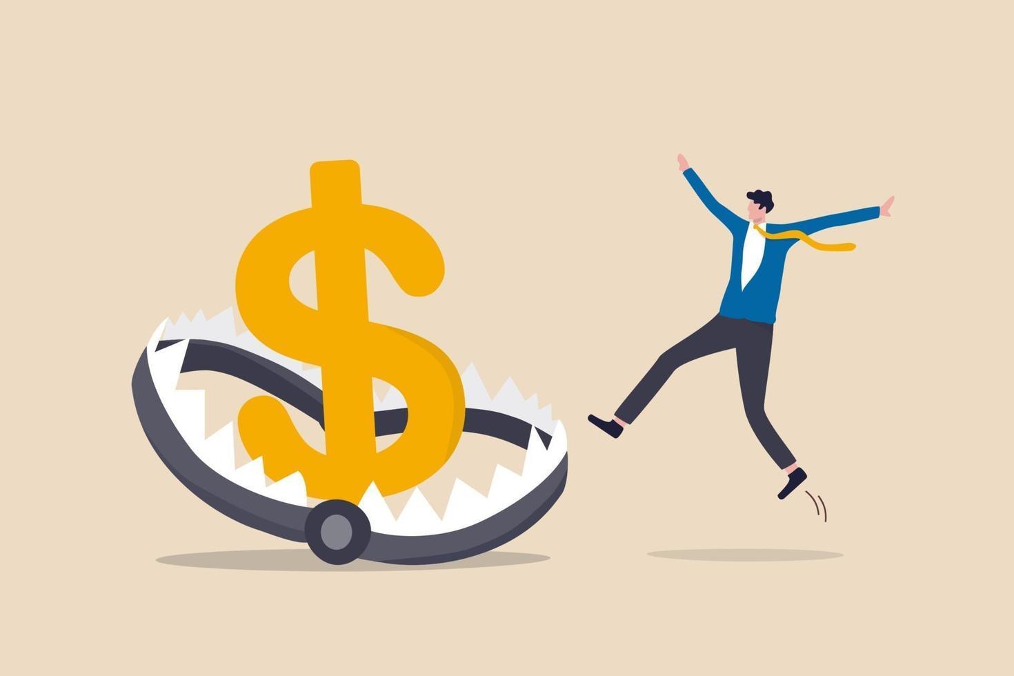 trampa de dinero financiero, riesgo en la inversión, esquema ponzi o concepto de trampa empresarial, empresario inversionista corriendo y saltando en trampa de dinero o trampa de ratón con cebo de signo de dólar de gran dinero. vector