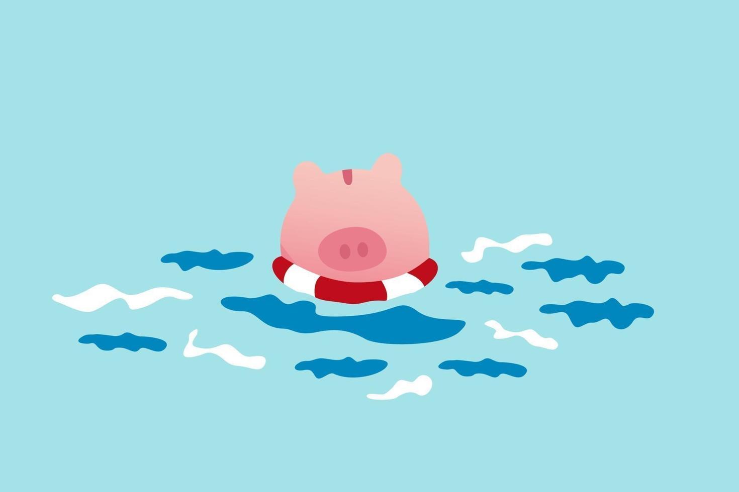 seguro comercial, política de ayuda del gobierno en crisis financiera o seguridad para ahorros personales en el concepto de pandemia covid-19 del accidente del coronavirus, hucha rosa desesperada flotando en un salvavidas en el océano. vector