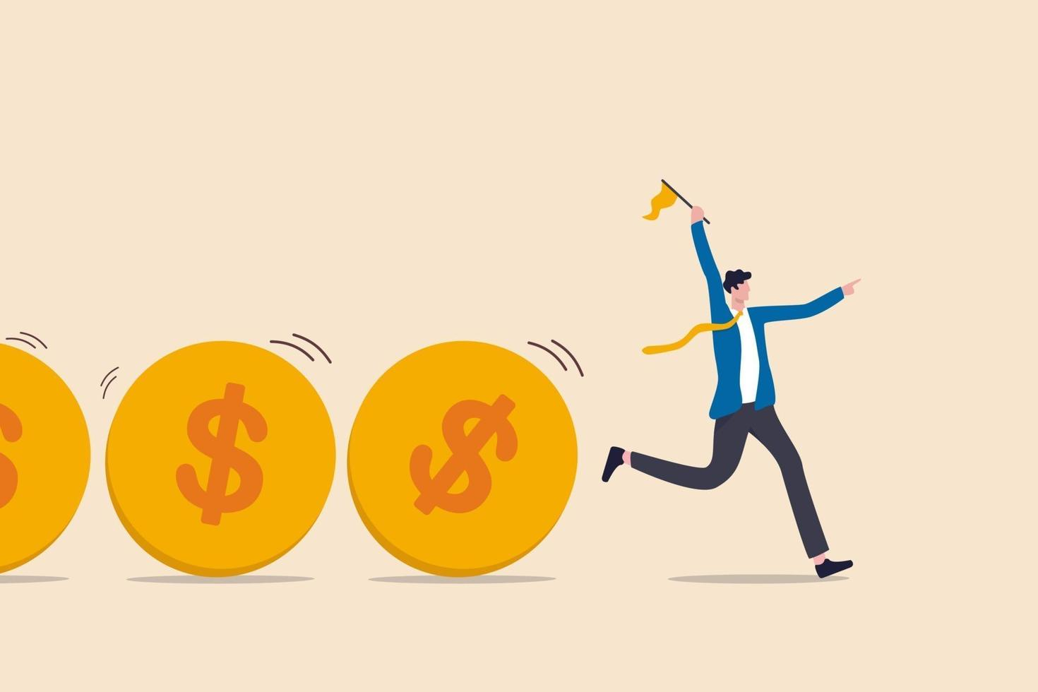 Cash flow, investment fund flow, fund raising, bank loan or financial activity to making money or profit concept, Businessman leader or investor holding flag control flow of money Dollar coins. vector