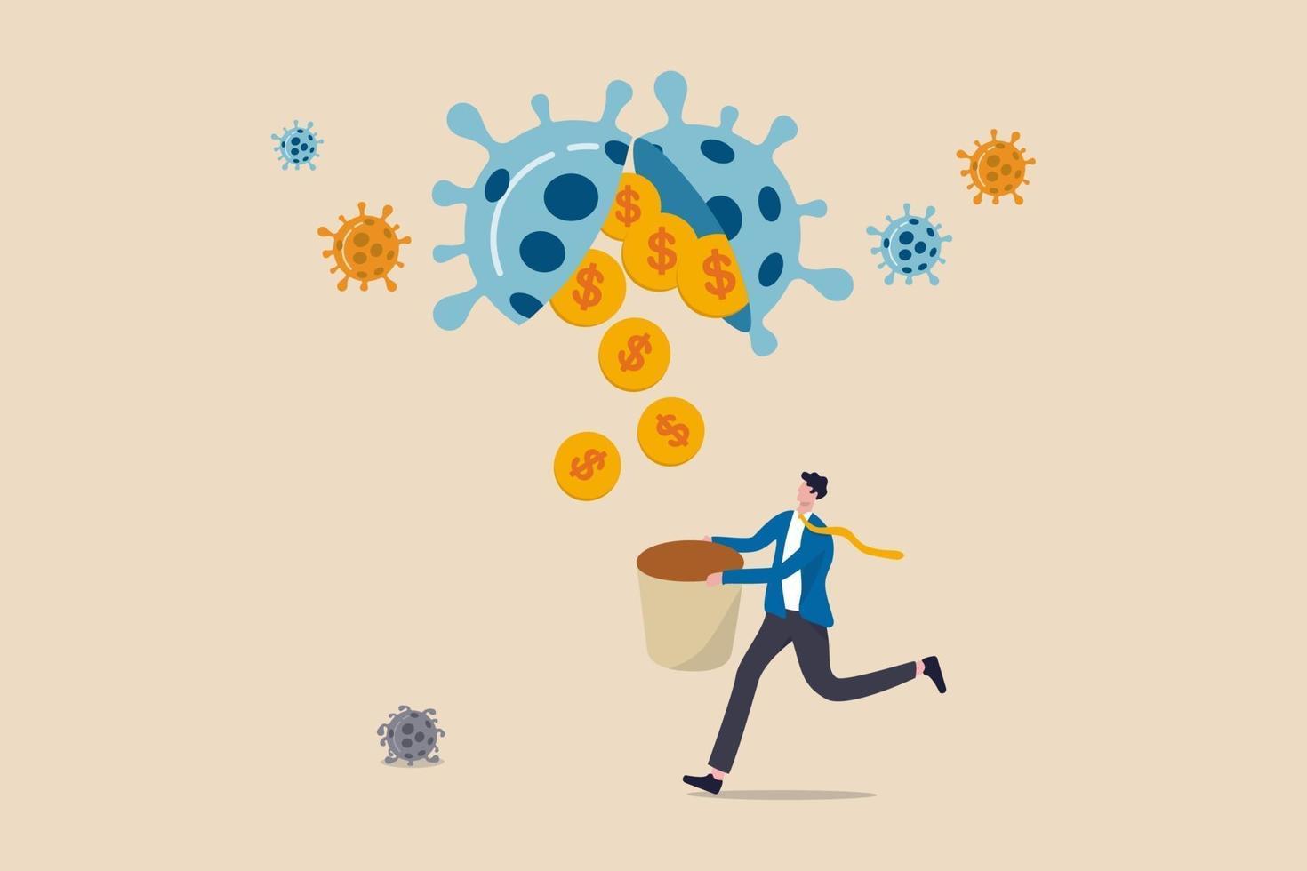 oportunidad de negocio o inversión en acciones de negociación en la crisis del coronavirus covid-19 o el concepto de recesión económica, inversor o propietario de un negocio que sostiene una canasta para obtener dinero en monedas de oro del virus patógeno. vector