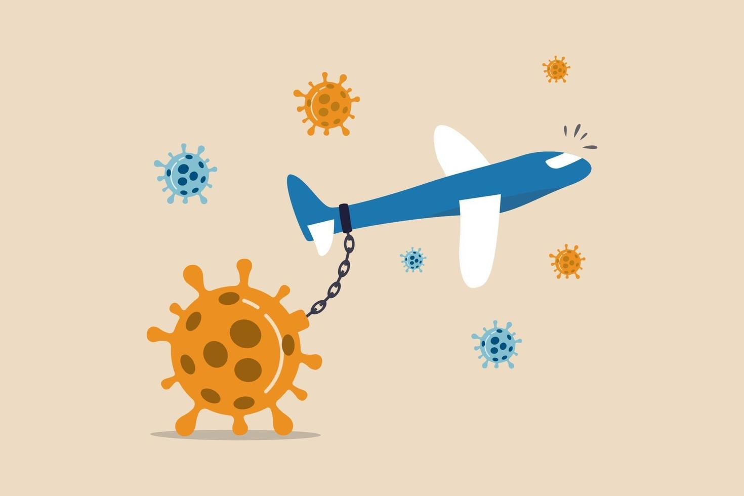 Airlines and travel industry impact financial problem bankrupt from Coronavirus COVID-19 outbreak crisis concept, commercial airplane chain with big heavy Coronavirus COVID-19 pathogen and cannot fly. vector