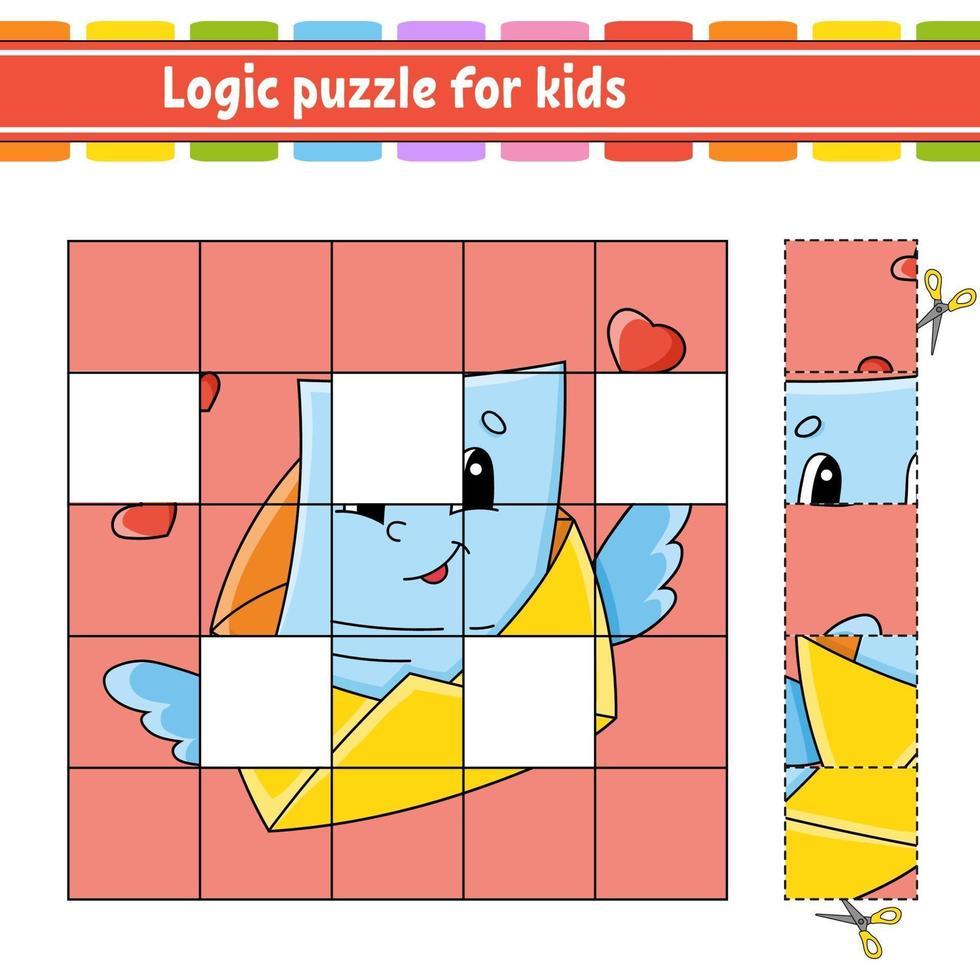 Rompecabezas de lógica para sobres para niños. hoja de trabajo de desarrollo educativo. juego de aprendizaje para niños. página de actividad. Ilustración de vector aislado plano simple en estilo de dibujos animados lindo.
