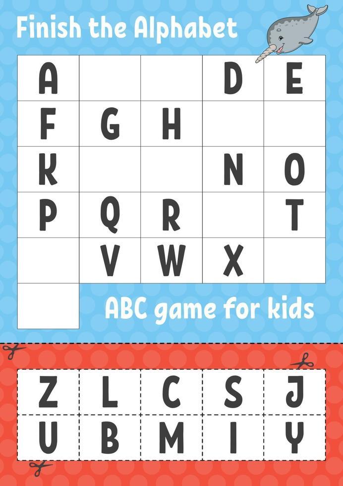 terminar el alfabeto. juego abc para niños. corta y pega. hoja de trabajo de desarrollo educativo. juego de aprendizaje para niños. página de actividad de color. vector