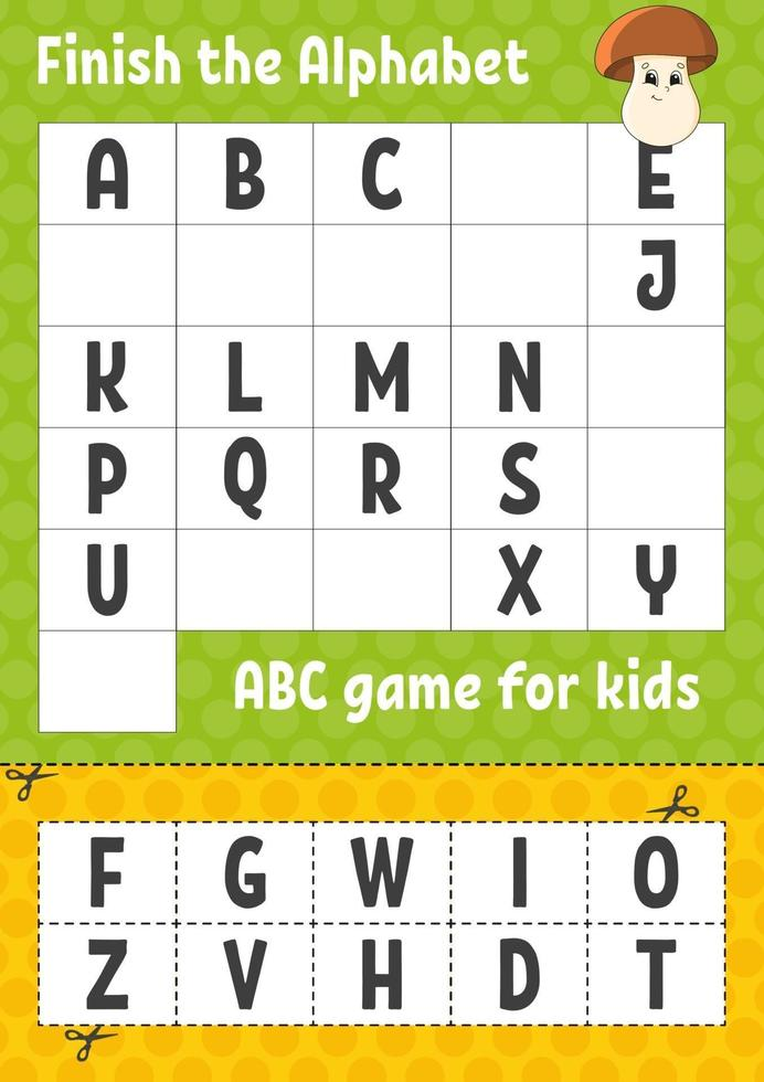 Finish The Alphabet. ABC Game For Kids. Cut And Glue. Education Developing  Worksheet. Learning Game For Kids. Color Activity Page. 2167821 Vector Art  At Vecteezy