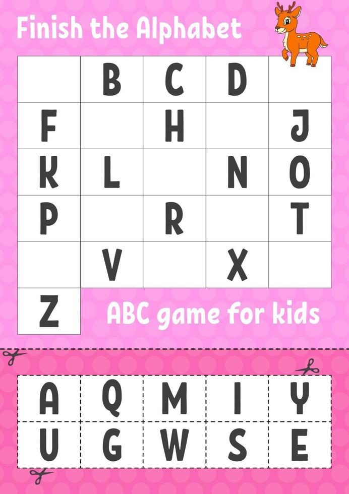 Finish the alphabet. ABC game for kids. Cut and glue. Education developing worksheet. Learning game for kids. Color activity page. vector