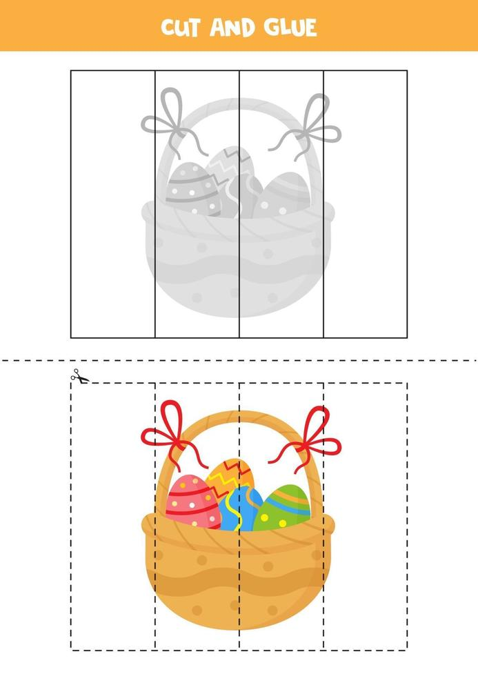 Cut and glue game for kids. Easter basket full of eggs. vector