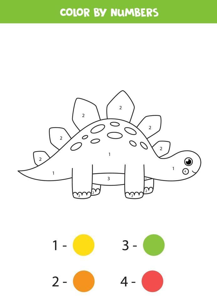 dinosaurio de dibujos animados lindo de color por números. juego de contar. vector