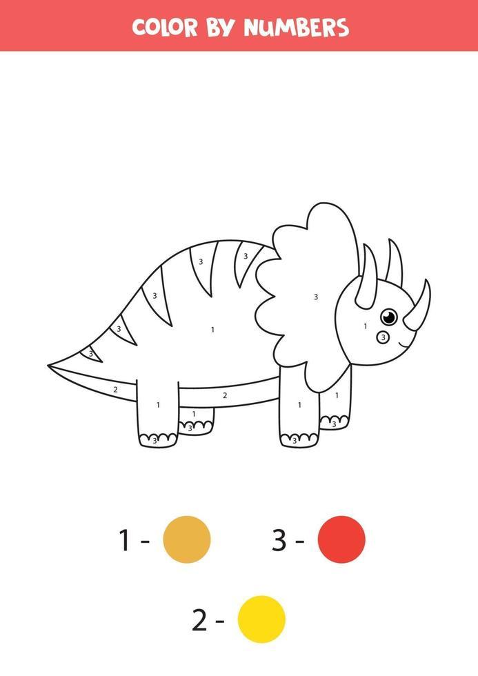 dinosaurio de dibujos animados lindo de color por números. vector