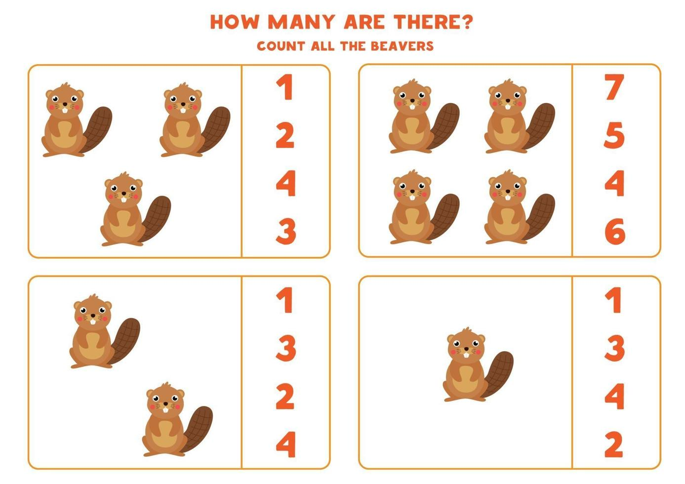 Counting math game with cute cartoon beavers. vector