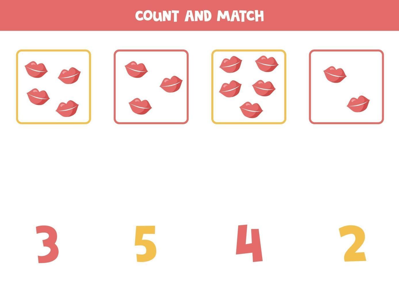 juego de contar para niños. juego de matemáticas con labios de dibujos animados. vector