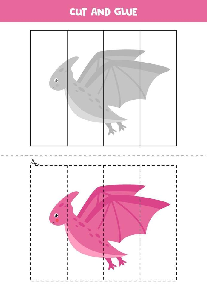 Cut and glue game for kids. Cute cartoon pterodactyl. vector