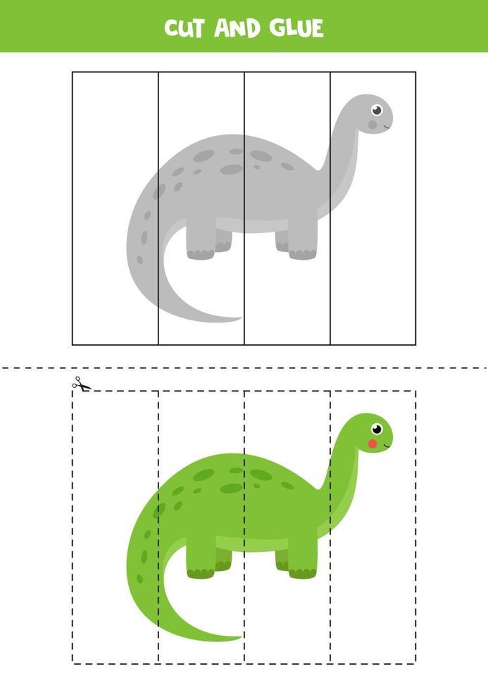 Cut and glue game for kids. Cute cartoon dinosaur. vector