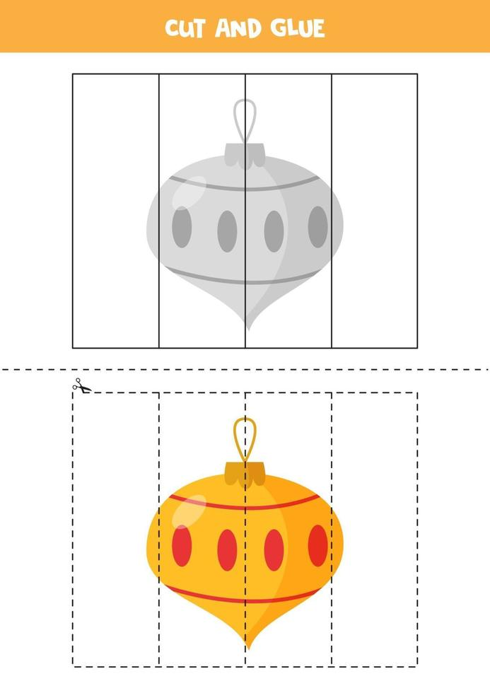 Cutting practice for toddlers. Cut and glue cute Christmas bauble. vector