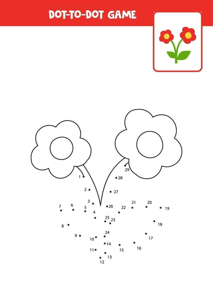 práctica de escritura a mano para niños. punto a punto con linda flor. vector