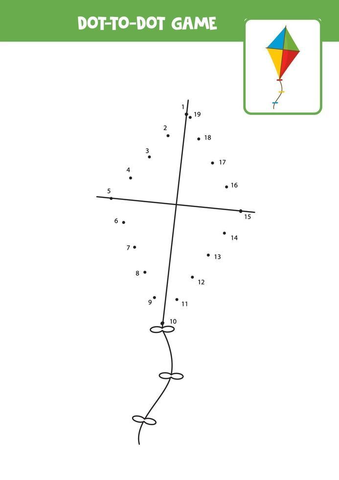 conecta el juego de puntos con la cometa de juguete de dibujos animados. vector