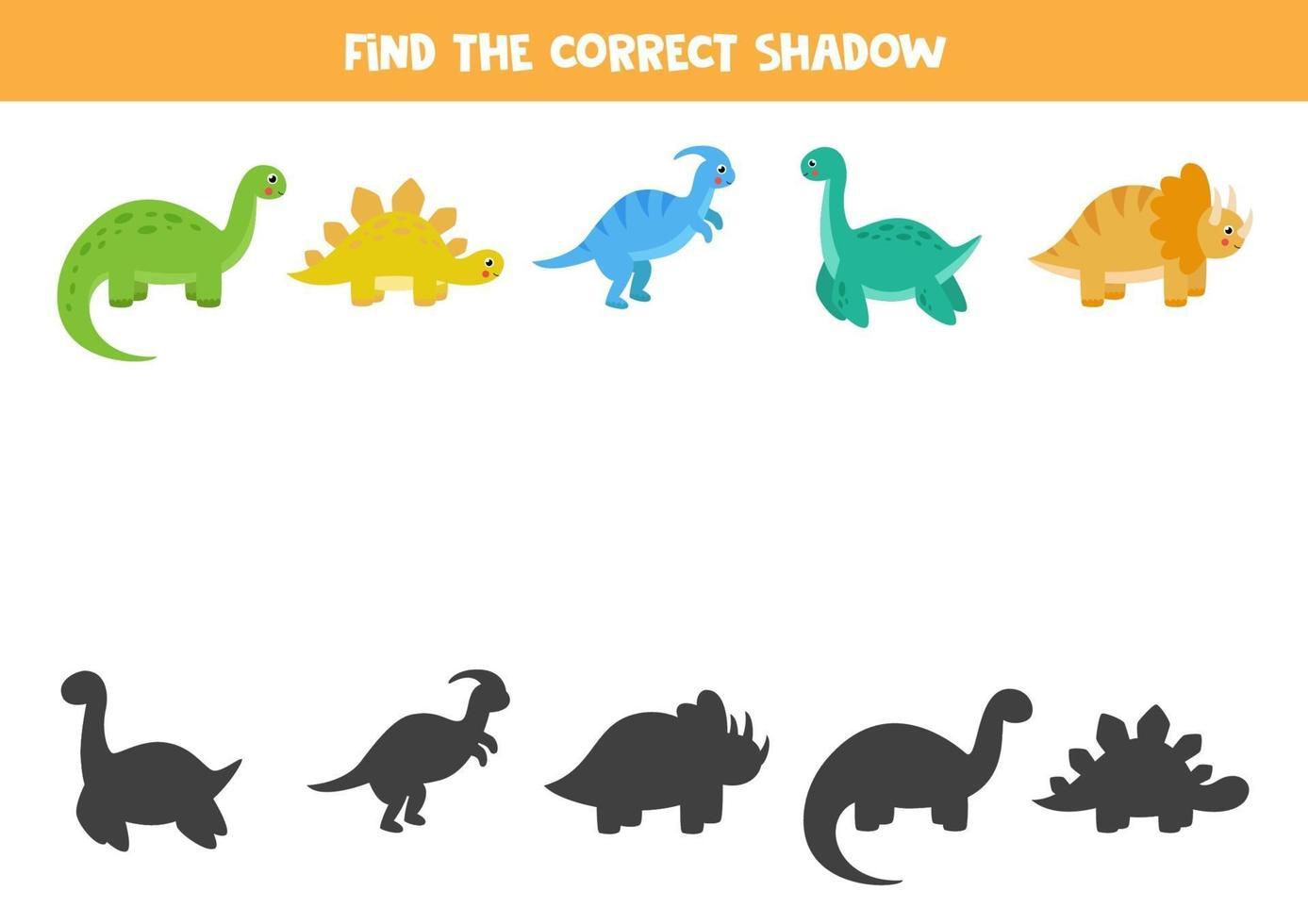 Encuentra las sombras correctas de los dinosaurios. rompecabezas lógico para niños. vector