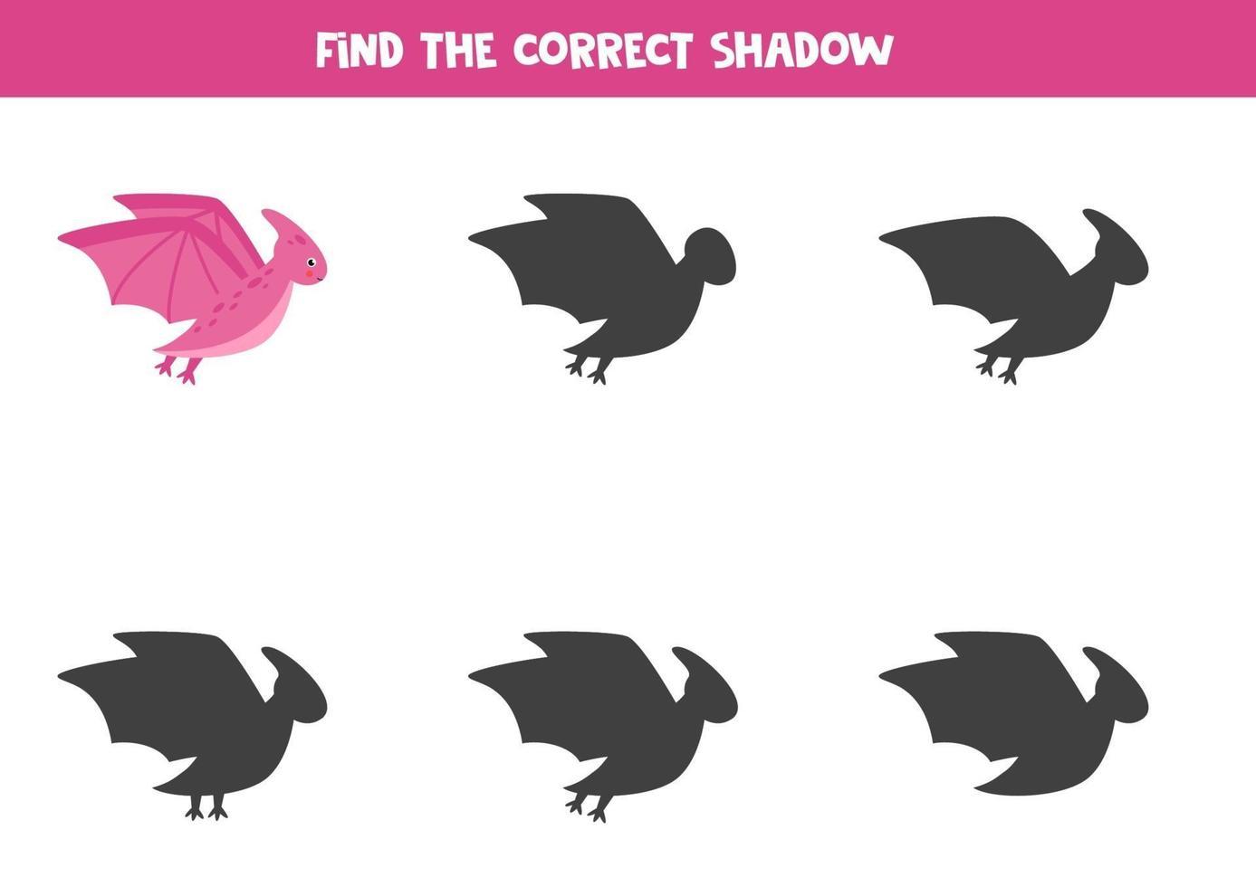 Encuentra la sombra correcta del lindo dinosaurio volador. vector