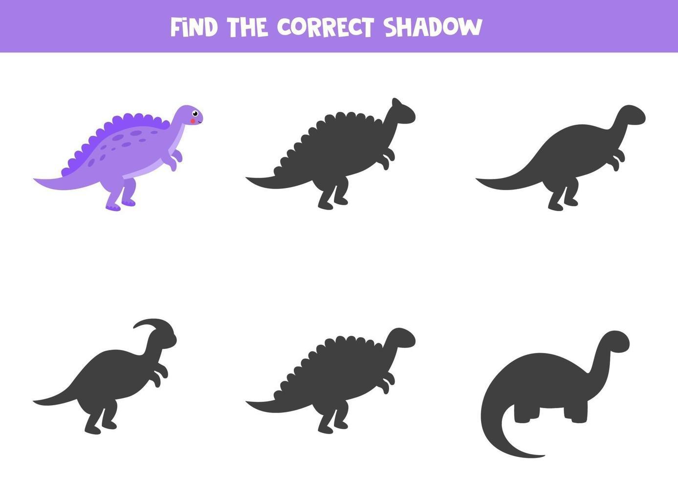 Encuentra la sombra correcta del lindo dinosaurio morado. vector