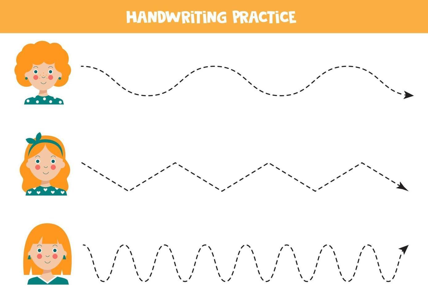 traza las líneas con chicas lindas. práctica de habilidades de escritura. vector