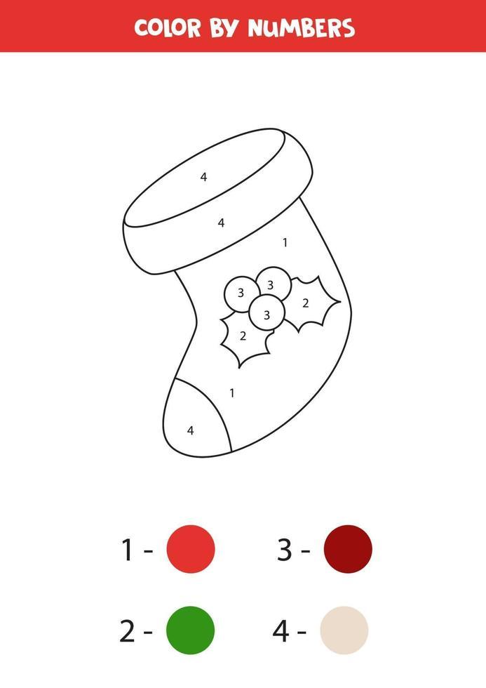 página para colorear para niños. calcetín navideño de color por números. vector