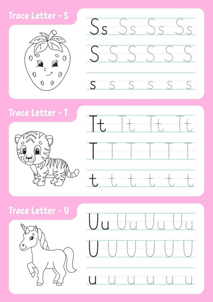 Writing letters s, t, u. Tracing page. Worksheet for kids. Practice sheet. Learn alphabet. Cute characters. Vector illustration. Cartoon style.