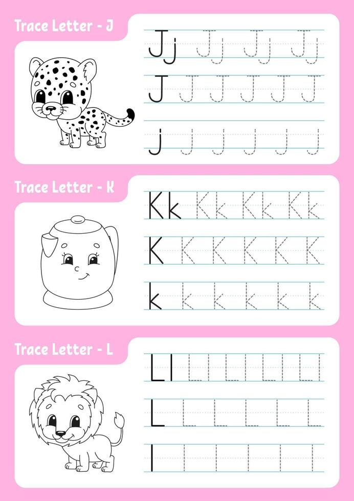 Writing letters j, k, l. Tracing page. Worksheet for kids. Practice sheet. Learn alphabet. Cute characters. Vector illustration. Cartoon style.