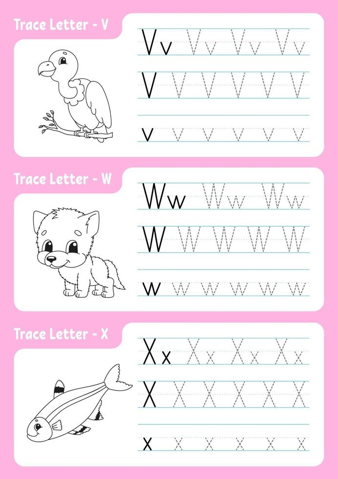 Writing letters v, w, x. Tracing page. Worksheet for kids. Practice sheet. Learn alphabet. Cute characters. Vector illustration. Cartoon style.