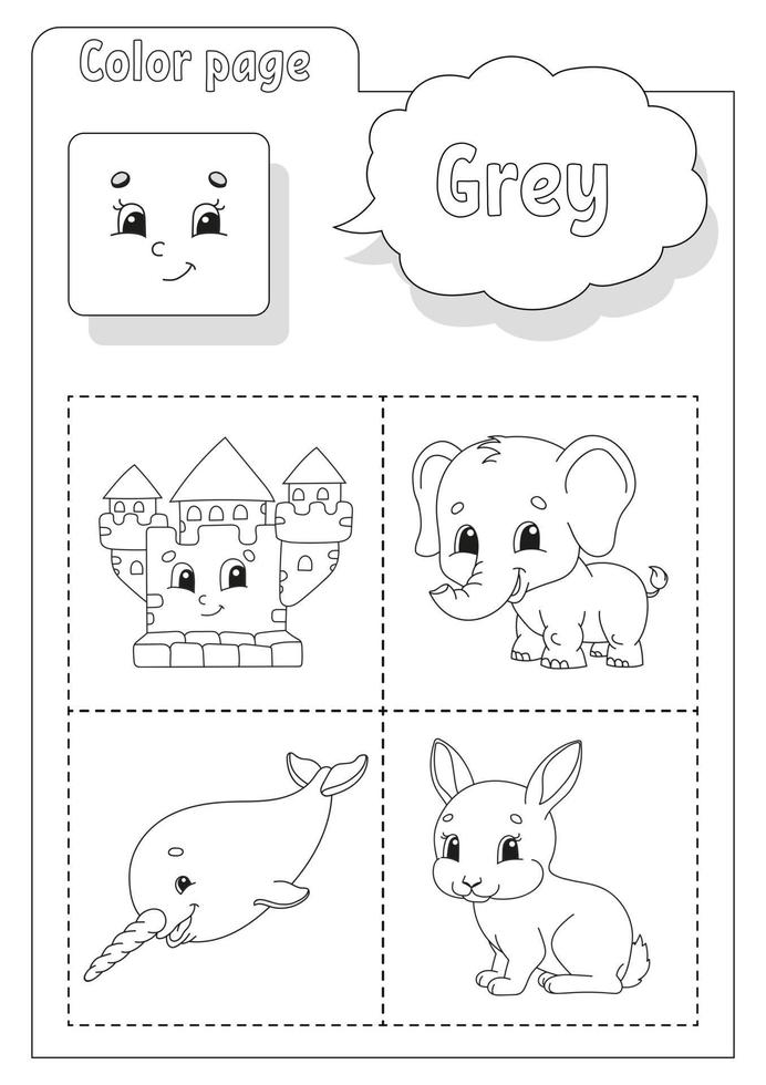 Coloring book grey. Learning colors. Flashcard for kids. Cartoon characters. Picture set for preschoolers. Education worksheet. Vector illustration.